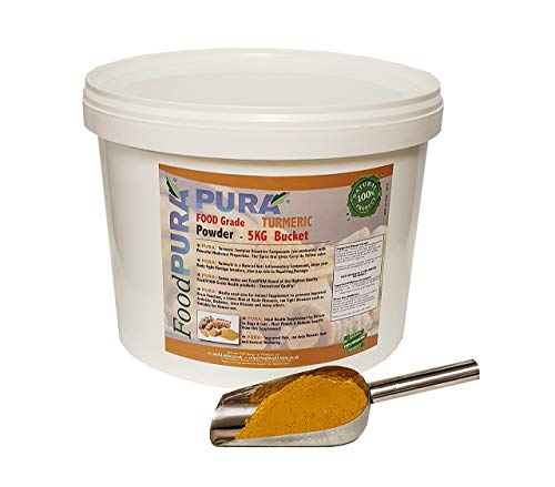 FOOD PURA 5KG Bucket FOOD Grade Turmeric, Termeric Powder - Human FOOD Grade Also used for Equine, Horse Animal Feed Supplement - FRESH Stock from India!