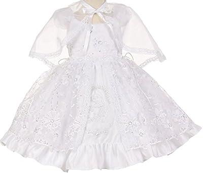 Little Baby Girls Virgin Mary Embroidered Cape Baptism Christening Dresses White 1