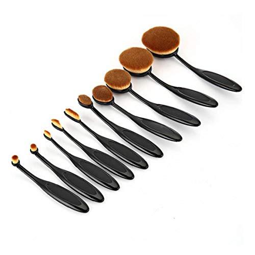 Amoyer Ovale Brosse À Dents Fondation Multifonctionnelle Fard À Joues Correcteur Pinceau De Maquillage 10 Pcs Brush Set