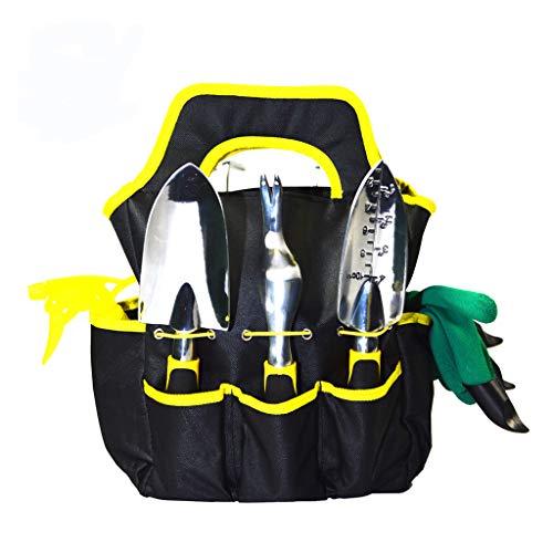 ThreeH Herramientas de Jardín 9Pcs Kit de Jardinería Juegos de Herramientas con Organizador Bolsa WT02 Dorado