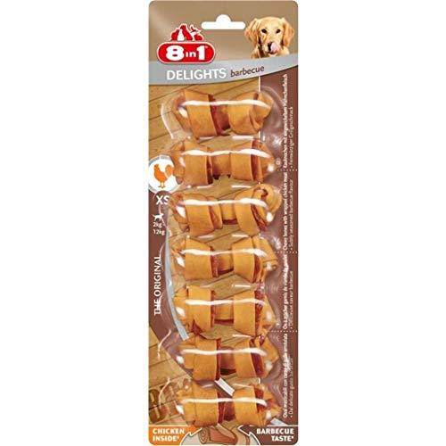8 in 1 Delights Bbq XS - Snack Masticabile con Carne di Pollo Avvolta In Pelle di Bufalo Gusto Bbq - 7pz