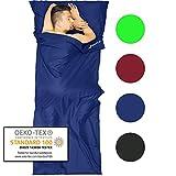 Fit-Flip Sábana Saco de Dormir Ligero de Microfibra, Sábana de Viaje, Saco de Dormir térmico, Saco de Dormir Compacto con Cremallera, Saco de Dormir Ligero - Color: Azul
