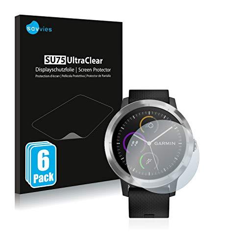 Savvies 6X Schutzfolie kompatibel mit Garmin Vivoactive 3 / Forerunner 45 / Approach S40 Bildschirmschutz-Folie Ultra-transparent