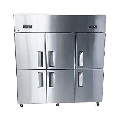 """Commercial Freezer Refrigerator Combination Solid 6-half-Door 46 Cu.Ft Capacity 72"""" Restaurant Fridge Upright Top Mounted Reach-In"""