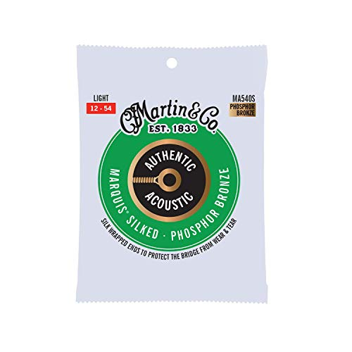 Martin Guitar Authentic Acoustic MA540S Marquis Silked 92/8 Phosphor Bronze Acoustic Strings, Light-Gauge