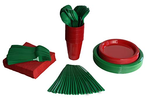 Exquisite 350 Piece Combo Christmas Themed Green & Red Disposable Party Plastic Plates and Cutlery Set Includes 50 Dinner Plates 50 Dessert Plates 50 Cups 50 Napkins 50 Forks 50 Spoons & 50 Knives