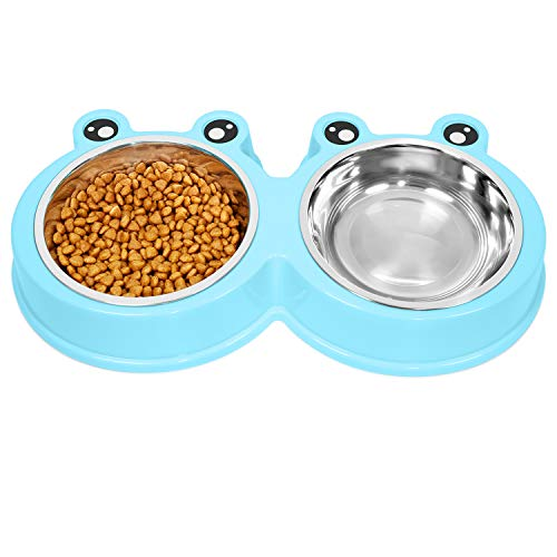 UPSKY Double Cat Bowls Cute Modeling Food Water Feeder No-Slip Stainless Steel Rabbit & Pet Bowls