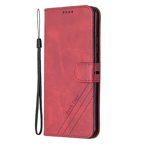 Coque pour Xiaomi Redmi 9 Housse, Etui en Cuir PU Portefeuille Coque avec Fente Carte, Fermeture Magnétique und Flip Béquille pour Xiaomi Redmi9 - JEHX020140 Rouge