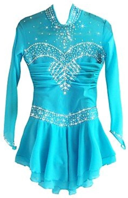 Heart&M Figure Skating Dress for Girls Women Ice Skating Competition Performance Costume Rhinestone Spandex Keep Warm Long Sleeves Skating Wear bluee