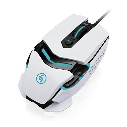 IOGEAR Kaliber Gaming FOKUS Pro Laser Gaming Mouse, White, GME670