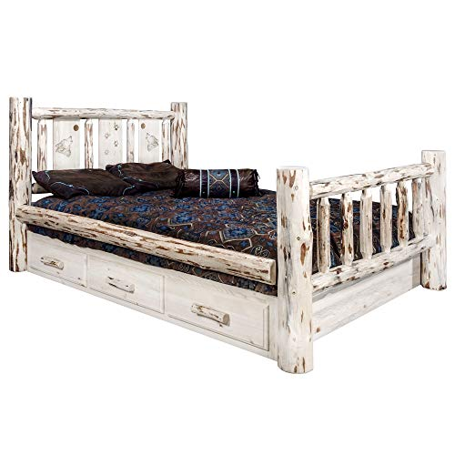 Great Price! Montana Woodworks Wolf Design Laser Engraved Storage Bed (Cal King:98 in. L x 76 in. W ...