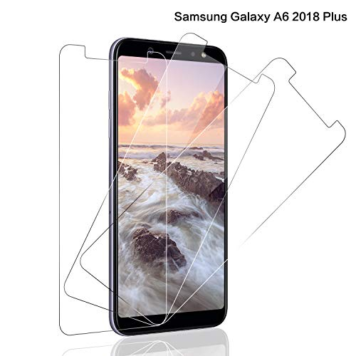 SNUNGPHIR® Cristal Templado Samsung Galaxy A6 Plus 2018 [3-Pack] Protector Pantalla Samsung A6 Plus 2018 Cristal Templado[2.5d Borde Redondo][9H Dureza][Alta Definición][Anti-Arañazos/Huella Digital]