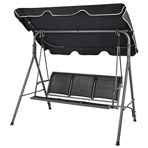 Montafox 3-Sitzer Hollywoodschaukel mit abnehmbarem und neigbarem Sonnendach Gartenschaukel für 3 Personen belastbar bis 250 kg, Farbe:Titanschwarz