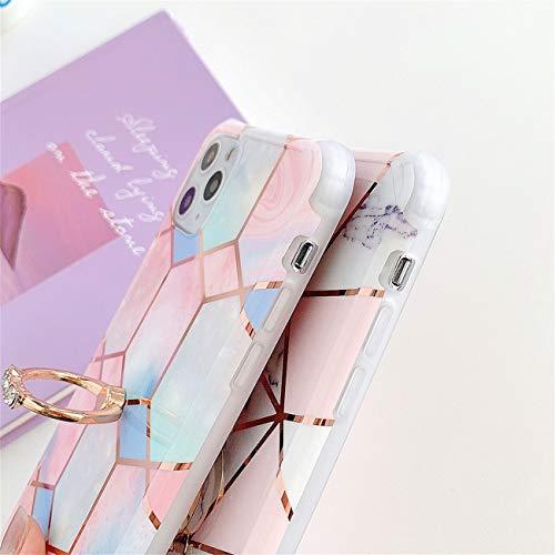 Bakicey iPhone 12 Pro Max Hülle, iPhone 12 Pro Max Marmor Handyhülle mit 360 Grad Ring Ständer Ultra Dünn Soft Silikon TPU Bumper Stoßfest Case Anti-kratzt Schutzhülle für iPhone 12 Pro Max, 26