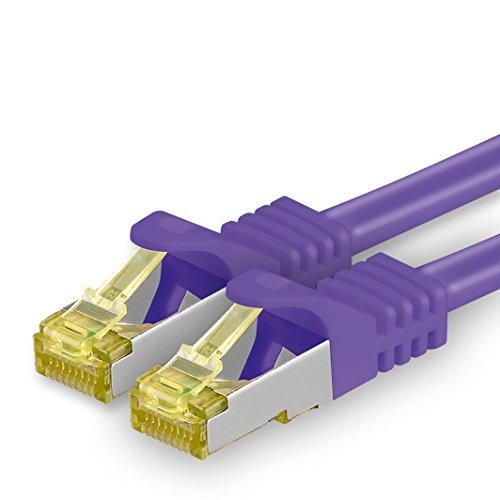 1aTTack.de Cat.7 netwerkkabel - Cat7 ethernetkabel netwerk internet DSL modem router hub patchkabel LAN-kabel ruwe kabel 10 Gb/s (SFTP PIMF LSZH) set patchkabel met Rj 45 stekker Cat.6a 10m violet - 1 stuk