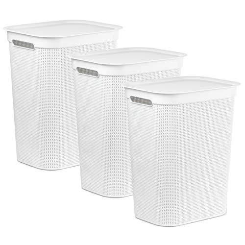 Rotho Brisen 3er-Set Wäschesammler 50l, Kunststoff (PP) BPA-frei, Weiss, 3x50l (43,1 x 34,0 x 52,9 cm), 1 x 34 x 52,9 cm