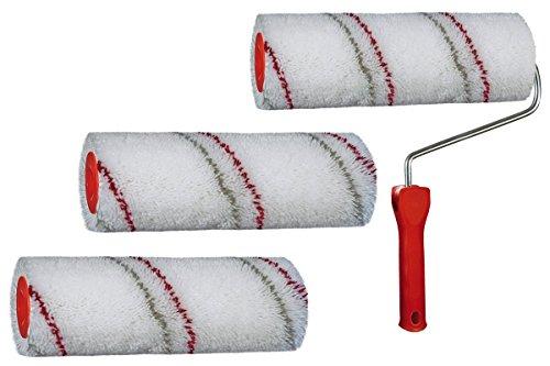 3 x Malerwalze 25cm Classic 18mm Flor + Farbroller Bügel für Wand- und Fassadenfarbe