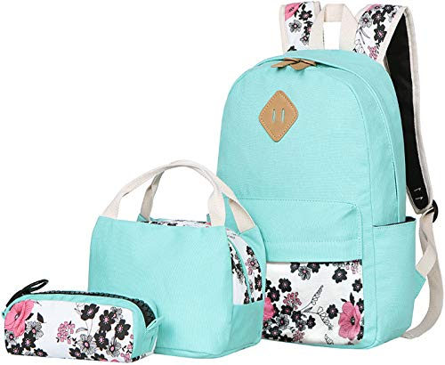 BLUBOON Teens Backpack Set Canvas Girls School Bags Bookbags 3 in 1 (Water Blue-14)
