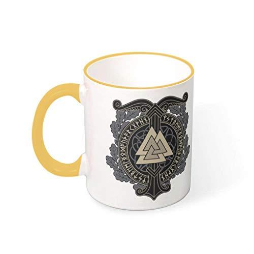 Taza de café Viking Rune Valknut de cerámica duradera retro novedad – Taza de té para el hogar para regalo de cumpleaños, 330 ml