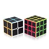 ROXENDA Speed Cube Set, Cubos de Velocidad 2x2 3x3, Fácil de Tornear y Liso Jugar, Cubo Mágico Pegatina de Fibra Carbono para Principiantes y Pro (T7)