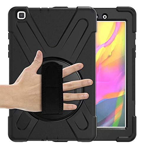 RZL PAD & TAB cases For Samsung Galaxy Tab A 8.0 2019 SM-T290 T295, 360 Shockproof Case Hand Strap Stand Case for Samsung Tab A 8.0 T290 (Color : Black, Size : Tab A 8.0 2019 T290)