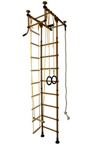 Sprossenwand Klettergerüst Heimsportgerät für das Kinderzimmer FitTop M1 Braun Raumhöhe 220 – 270 cm