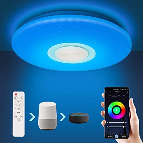 SONUG Smart LED Deckenleuchte 24W mit Bluetooth Lautsprecher WiFi, RGB Lampen...