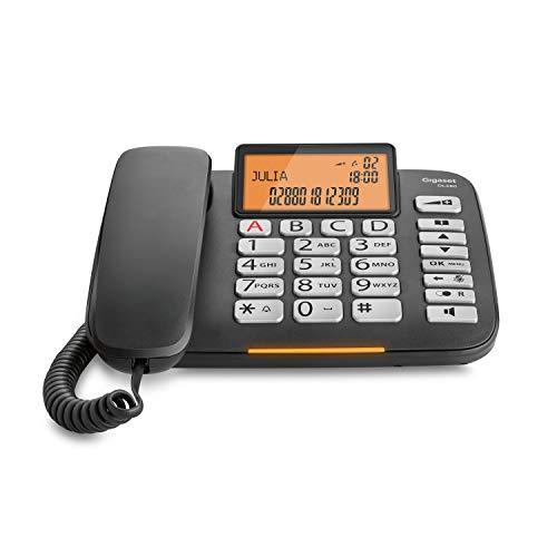 Gigaset DL580 Telefono Fisso, Ampio Display, Grandi Tasti Ergonomici, Visualizzazione Chiamata Tramite LED, Nero [Italia]