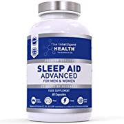 Advanced Sleeping Aid for Adults, 5HTP, Natural Melatonin Sources & Magnesium, Premium Quality UK Made, 60 Vegan Capsule Pills, Strong Blend of Griffonia Seed Extract, Montmorency Cherry & Chamomile.