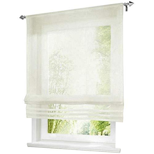 ESLIR Raffrollo Küche Raffgardine mit Tunnelzug Bändchenrollo Weiß Voile Gardinen Transparent Milchweiß BxH 60x155cm 1 Stück