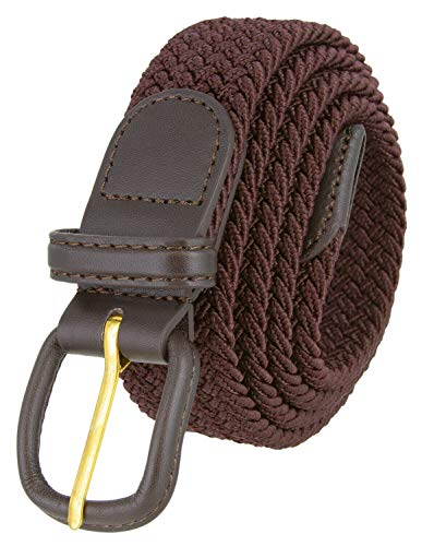 Belts.com Leather Covered Buckle Woven Elastic Stretch Belt, Brown, (L(37'-39')