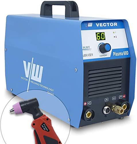 Plasmaschneidgerät Plasmaschneider Plasma Cutter Cut mit 60 Ampere | Überhitzungsschutz, Kontaktzündung, digit. Anzeigen Display & Startdüsen Set - Schneidet bis 20 mm Stahl - von Vector Welding