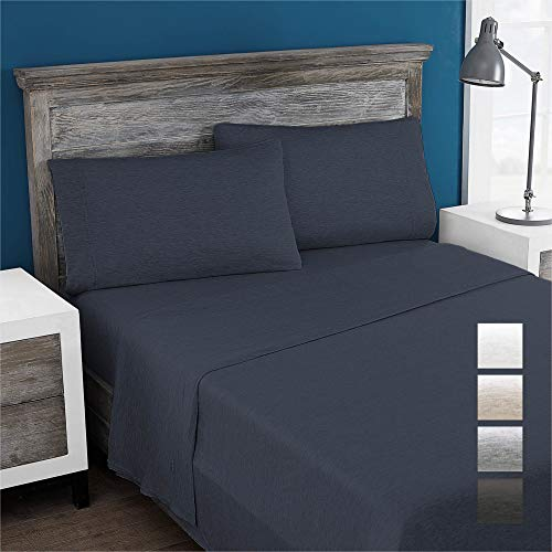 Columbia Eco-Friendly 100% Modal Jersey Knit Performance 4-Piece Sheet Set - Omni-Wick Stay Dry Technology – Incredibly Soft, Stretchy, Cool and Comfortable - King, Heathered Denim
