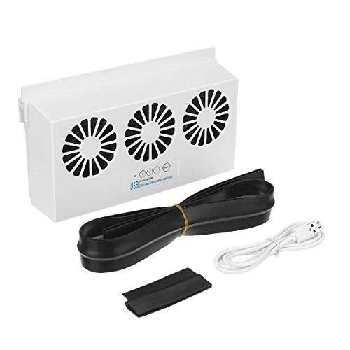 Sonline Extractor de Aire Solar de Coche USB/Extractor de Aire de Carga Dual Solar IP67 Ventilador de RefrigeracióN con Panel Solar una Prueba de Agua Blanco