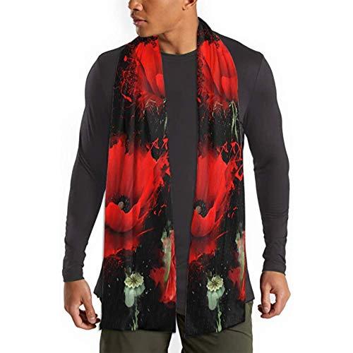 Drei rote Mohnblume auf schwarzen Schal Womens Schals und Wraps für Brautkleider Schal Wrap Kids Head Scarf weiche warme Schals