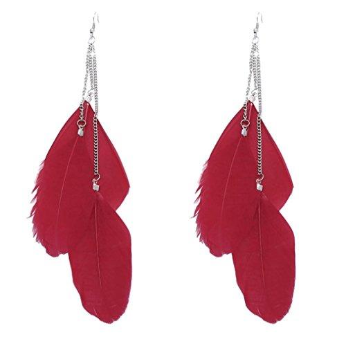 FAMILIZO Pendientes De Moda De Las Mujeres Estilo Bohemio Pendientes De Gota Largos Hechos A Mano De La Vendimia De La Pluma (Rojo)