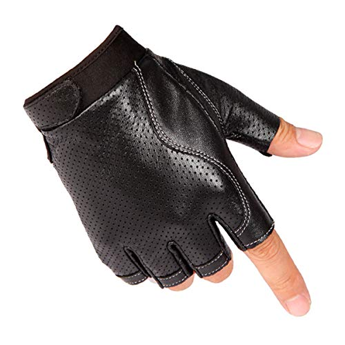 Fingerless Driving Gloves PU Faux Leather Outdoor Sport Half...