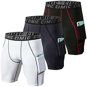 CIMIC Men s 3 Pack Compression Shorts with Pockets Workout Baselayer Underwear For Running,Athletic,Gym 0830-Black-Grey-White-L