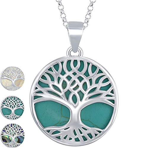 Beaux Bijoux Sterling Silver Natural Turquoise Stone Tree of Life Circle Pendant Necklace for Women with 18