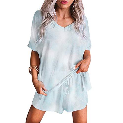 YANFANG Tops Pantalones Cortos Sueltos Conjuntos Casuales Moda Mujer Tie-Dye Impresión Cuello en V Manga Corta de Color sólido Talla Grande