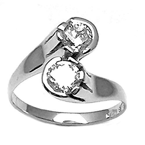 Gioielli Aurum - Anillo de Mujer de Oro Blanco 18CT Contrario, con Circonitas Brillantes Piedras Semipreciosas