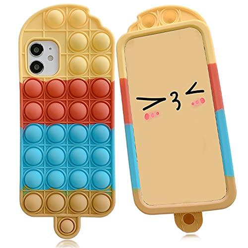 YEARN MALL Custodia per iPhone SE 2020/8/7/6s/6, Push Bubble Fidget Toy antiurto custodia antistress e anti-ansia (ghiacciolo-blu)