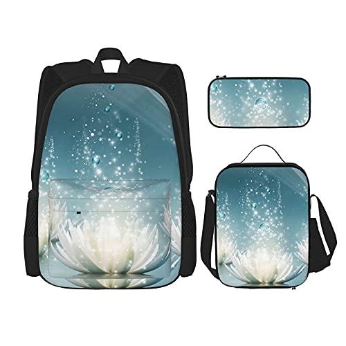 Witte Lotus Bloemen Print Rugzak Voor Jongens Tieners Bookbag Reizen Dagrugzak, Lunch Bag En Potlood Case Combinatie