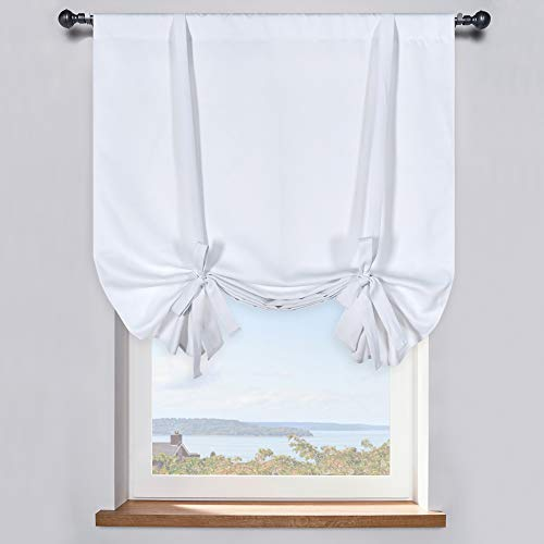 Pure White Balloon Shades Room Darkening Kitchen Window Curtain - Adjustable Thermal Insulated Tie Up Curtain Panel for Bathroom (42 W x 45 inches Long,1 Panel)