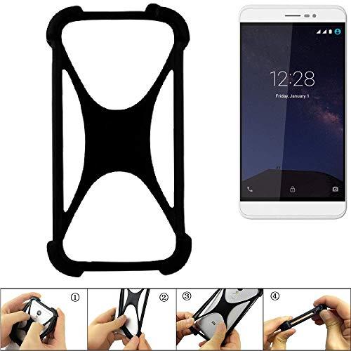 K-S-Trade® Handyhülle Für Coolpad Porto S Schutz Hülle Silikon Bumper Cover Case Silikoncase TPU Softcase Schutzhülle Smartphone Stoßschutz, Schwarz (1x),