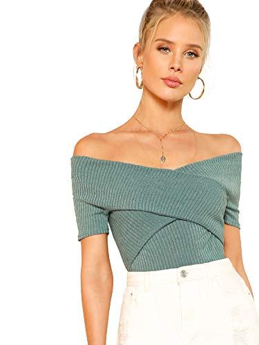 DIDK Damen Schulterfrei Crop Shirts Einfarbig Slim T-Shirt Kurzarm Oberteile Tops Sommershirts Kurzarmshits Elegant Blusen Grün M