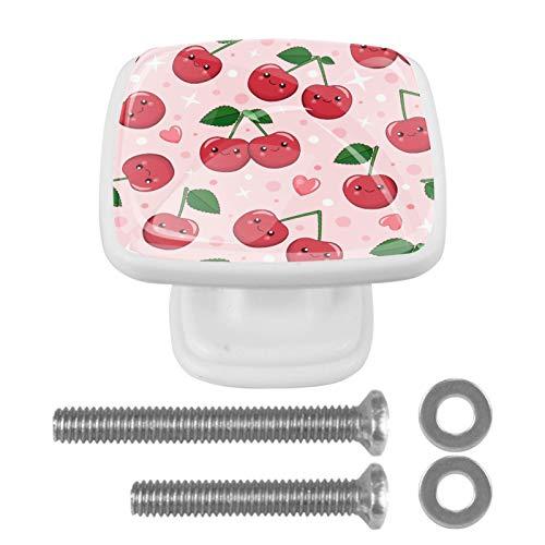 [4 piezas] pomos de aparador, coloridos pomos decorativos para cajón, decoración del hogar, color rosa cereza