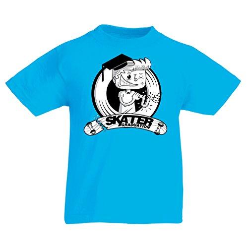 lepni.me Kinder Jungen/Mädchen T-Shirt Pro Skate Academy für Skater, Longboard, Geschenk für Skateboarder (5-6 Years Hellblau Mehrfarben)