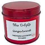 Vela perfumada de pan de jengibre | Vela de cera de soja navideña, respetuosa con el medio ambiente, sin crueldad + vela vegana | 200 ml hecha a mano en el Reino Unido | Vela de soja roja de lujo