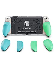 Skull & Co. GripCase Crystal: A Dockable Transparent Protective Cover Case with Replaceable Grips [to Fit all Hands Sizes] for Nintendo Switch [No Carrying Case] - Animal Crossing